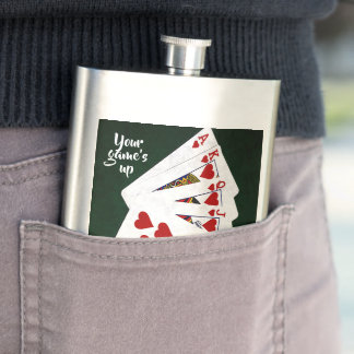 Poker Hands - Hearts Royal Flash. Your game's up Hip Flask