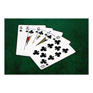 Poker Hands - Royal Flush - Clubs Suit Photograph