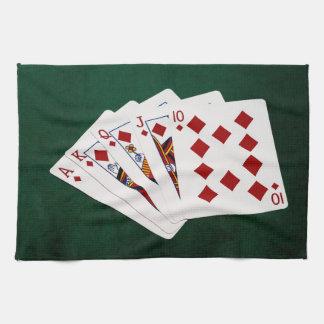 Poker Hands - Royal Flush - Diamonds Suit Kitchen Towel