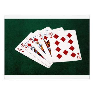 Poker Hands - Royal Flush - Diamonds Suit Photographic Print
