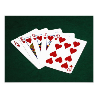 Poker Hands - Royal Flush - Hearts Suit Photo Art