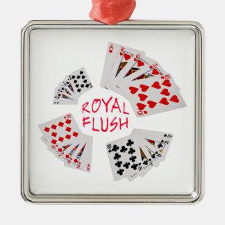 Poker Hands - Royal Flush Silver-Colored Square Ornament