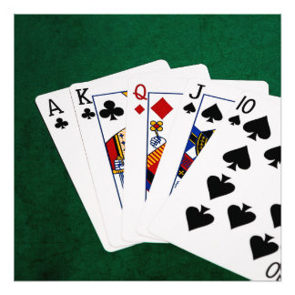 Poker Hands - Straight - Ace To Ten Photographic Print