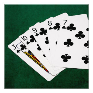 Poker Hands - Straight Flush - Clubs Suit Photographic Print