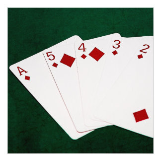 Poker Hands - Straight Flush - Diamonds Suit Photograph