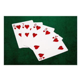 Poker Hands - Straight Flush - Hearts Suit Photograph