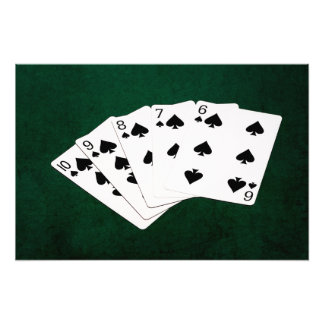 Poker Hands - Straight Flush - Spades Suit Photo