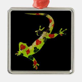 Poker Lizard Silver-Colored Square Ornament