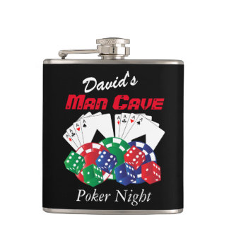 Poker Night at the Man Cave Hip Flask