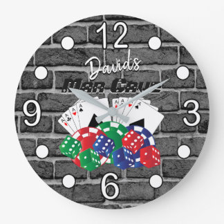 Poker Night at the Man Cave on Brick Large Clock