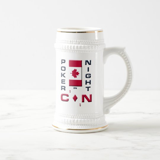 Poker Night in Canada Beer Stein Mug - front/back