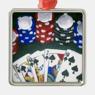 Poker Night Silver-Colored Square Ornament