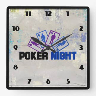 Poker Night with Playing Card in Blue and Purple Wall Clocks