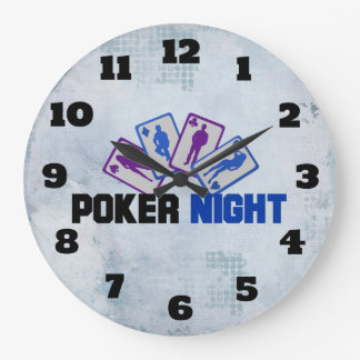Poker Night with Playing Card in Blue and Purple Wallclock