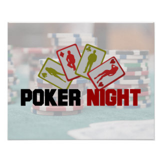 Poker Night with Playing Card in Red and Olive Gre Poster