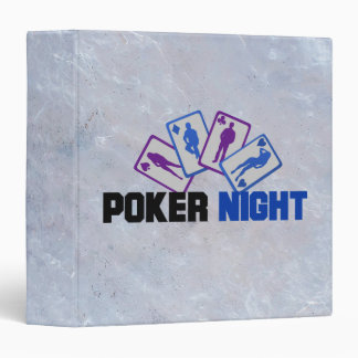 Poker Night with Playing Card on Marble Texture 3 Ring Binder