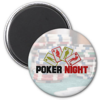 Poker Night with Playing Cards and Poker Chips 2 Inch Round Magnet