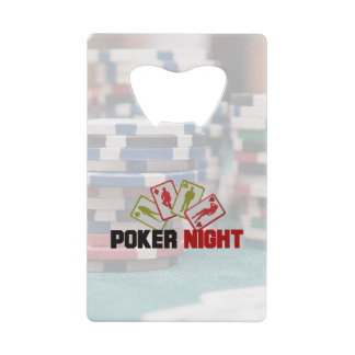 Poker Night with Playing Cards and Poker Chips Credit Card Bottle Opener