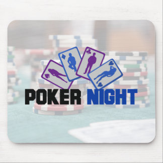 Poker Night with Playing Cards and Poker Chips Mouse Pad