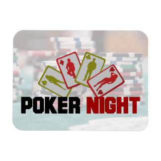 Poker Night with Playing Cards and Poker Chips Rectangular Photo Magnet