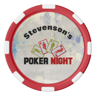 Poker Night with Playing Cards Personalized Poker Chips