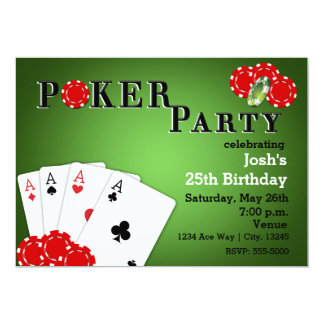 POKER PARTY Casino Game Birthday Invitations