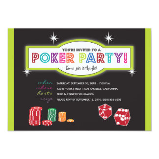 Poker Party Extravaganza Invitation (lime/black)