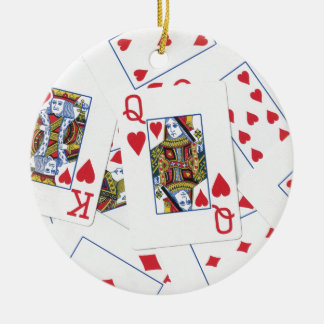 Poker Patterns Round Ceramic Ornament