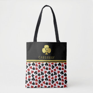 Poker Player Gambler Casino Card Suits Custom Name Tote Bag