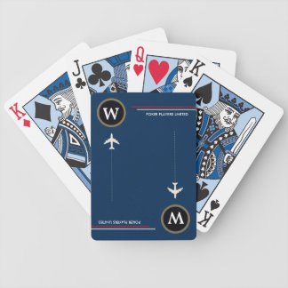poker-player personalized initial with airplanes bicycle playing cards