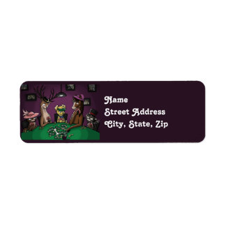 Poker Playing Animals Custom Return Address Label