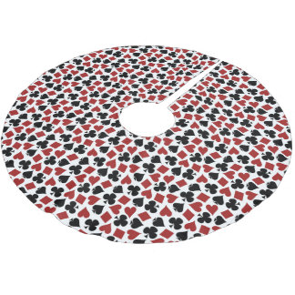 Poker Playing Card Suit Pattern Brushed Polyester Tree Skirt