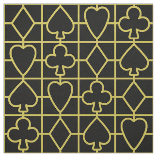 Poker Playing Card Suit Vegas Casino Black Gold Fabric