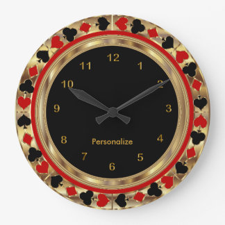 Poker Playing Cards Large Clock