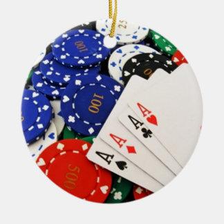 Poker Round Ceramic Ornament
