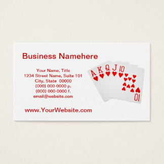 Poker Royal Flush Business Cards