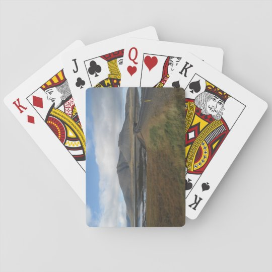 Poker Size Playing Cards With Distant Hills