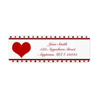 Poker Theme | Playing Card Suits | Red Heart Return Address Label