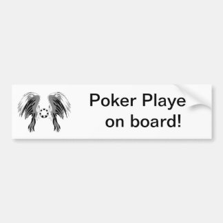 Poker wings black white gray with chip! bumper sticker