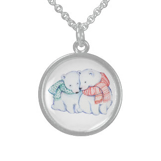 POLA BEARS NECKLACE.  CLASS  TRENDY CHRISTMAS GIFT STERLING SILVER NECKLACE