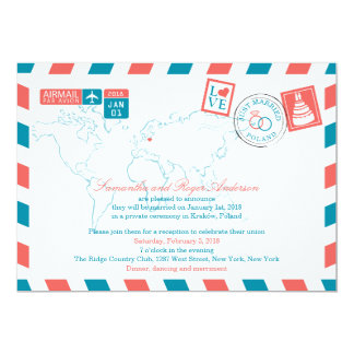 POLAND Coral and Teal Airmail Post Wedding Card
