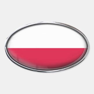 Poland Flag Glass Oval Oval Sticker