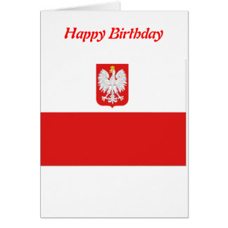 Poland flag happy birthday cards