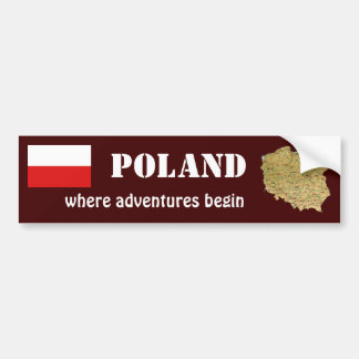 Poland Flag + Map Bumper Sticker