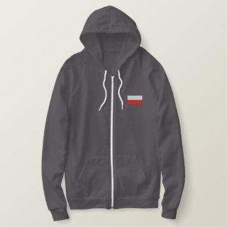 Poland flag men's embroidered zip up jacket