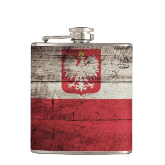 Poland Flag on Old Wood Grain Flasks