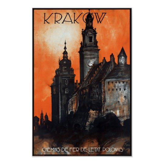 Poland Krakow Vintage Travel Poster Restored