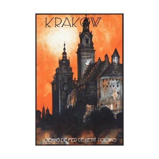 Poland Krakow Vintage Travel Poster Restored Canvas Print