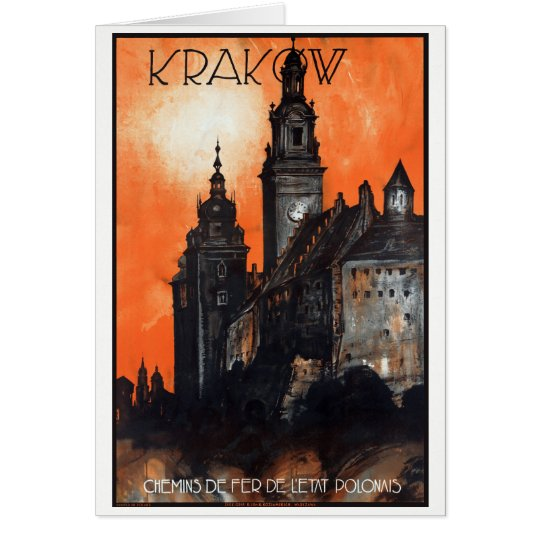 Poland Krakow Vintage Travel Poster Restored Card
