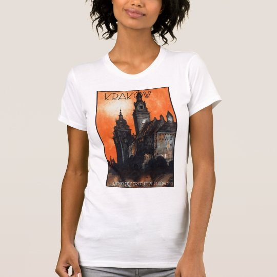 Poland Krakow Vintage Travel Poster Restored T-Shirt